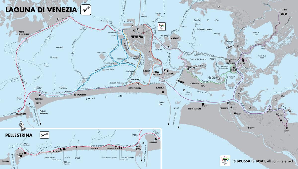 Cartina Laguna Di Venezia.Brussa Is Boat Noleggio Barche Da Trasporto E Diporto Venezia Itinerario Verde